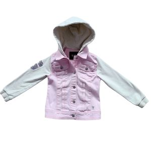 Guess Girl's Pink Knit and Denim Hooded Jacket